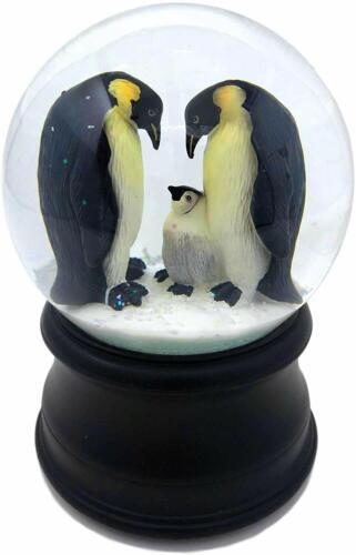 San Francisco Music Box Penguin with Chick Snow Globe