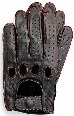 Riparo Reverse Stitched Leather Driving Motorcycle Gloves - Black/Red Thread Leather Reversible Gloves