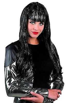 Halloween-kostüme, Schwarze Haare ( Schwarz Perücke silber Glitter Pony Langhaar Halloween Kostüm Karneval 86291)