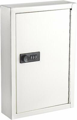 Adiroffice White Key Storage 40 Hook Steel Key Cabinet W Combination Lock