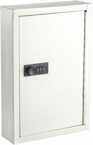 AdirOffice White Key Storage 40 Hook Steel Key Cabinet W/ Combination Lock