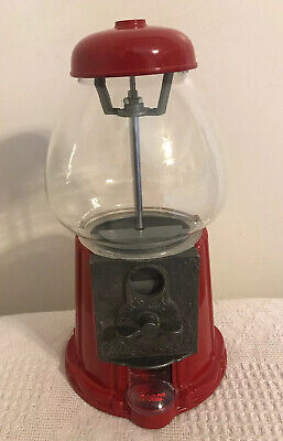 Vintage 1985 Carousel Coin Bank Red Gumball Machine Metal w/ Glass Globe -11.5""