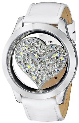 New GUESS Ladies Watch White HEART Leather U0113L6 BNWT USA