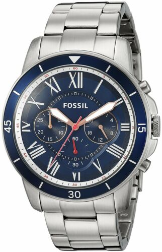Mens Watches - Fossil Men's FS5238 Grant Sport Chronograph Stainless Steel Blue Dial Watch