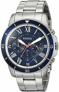 Fossil-Men-039-s-FS5238-Grant-Sport-Chronograph-Stainless-Steel-Blue-Dial-Watch