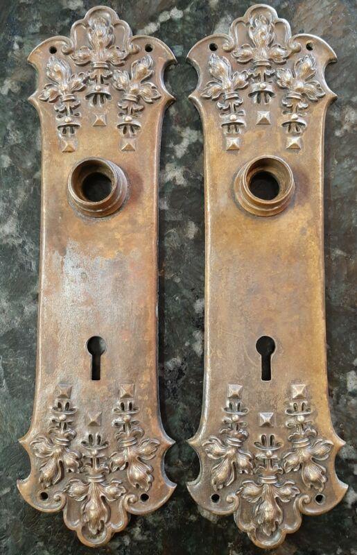 1 Door Knob Back Plate Norwalk Flemish H47500 Antique Victorian Brass 1893 Large