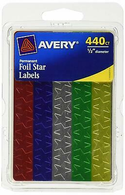 Avery Assorted Foil Star Labels 6007, 1/2