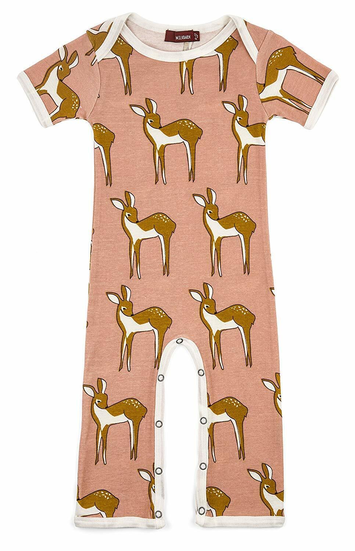 Milkbarn Infant Baby Romper Rose Doe Deer Short Sleeve Pink