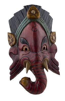 Mask Tibetan Ganesha Wood 27cm Himalayas-Elephant-Deity Tibet Nepal 25276 GB