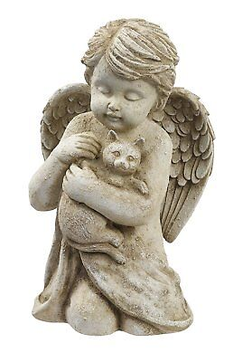 7in Angel Cat Garden Statue Cherub Animal Sculpture Pet Memorial Figurine Decor
