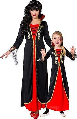 Familie Passend Damen Mädchen Vampir Halloween Kostüm Verkleidung - Familie Vampir Kostüm