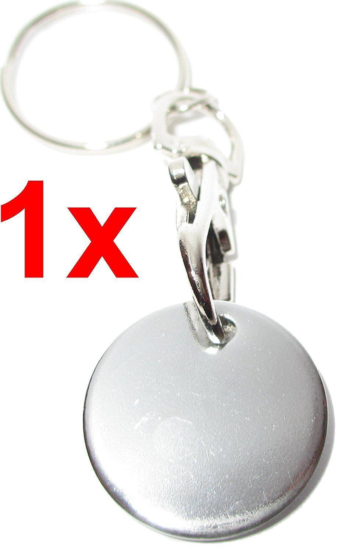 4er Set Einkaufswagenchip Metall EDELSTAHL Schlüsselanhänger abziehbar