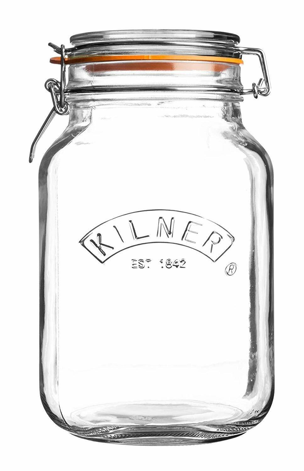Kilner Square Glass Clip Top Jar with Airtight Rubber Seal,