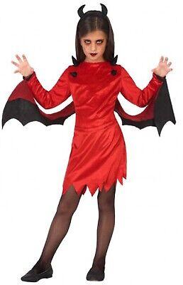 Mädchen-rot Schwarz Teufel Unheimlich Gruselig Halloween Kostüm 3-12 Jahre