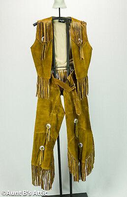 Cowgirl Chaps & Vest Set Genuine Tan - Cowgirl Chaps Kostüm Set