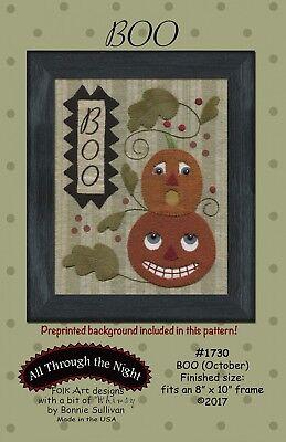 Halloween Boo (October) by Bonnie Sullivan - BOM Stitchery Wool Applique - Halloween Wool Applique Patterns