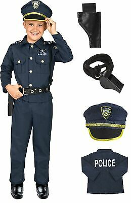 Police Costume For Boy (Kids Police Officer Costume Halloween Cosplay Boys Outfit Realistic Set)