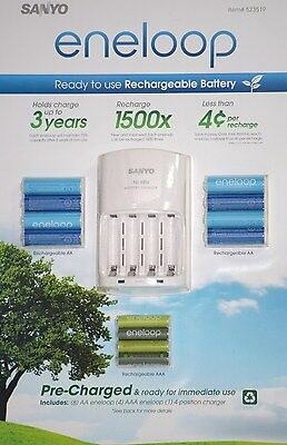 Sanyo Eneloop Ni-mh Charger And 8 Rechargeable Aa And 4 R...