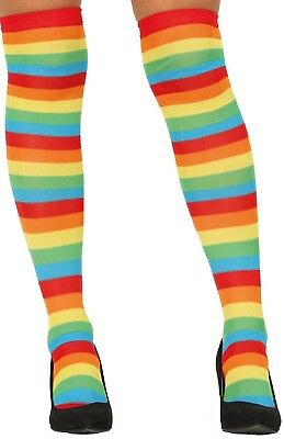 Bogen Gestreifte Strümpfe (Damen Regenbogen Gestreift Pride Karneval Kostüm Halterlose Strümpfe Socken)
