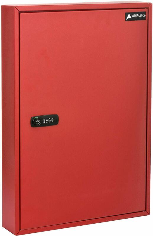 AdirOffice Steel Red 100 Key Storage Cabinet Secure Box W/Combination & Key