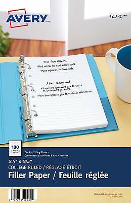 Avery 5-12 X 8-12 College Ruled Filler Paper For Mini Binders - 100pk