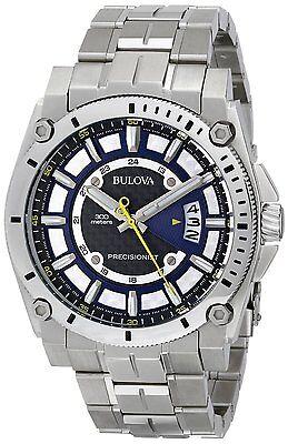- Bulova Precisionist Men's Quartz Patterned Dial Silver-Tone 46mm Watch 96B131