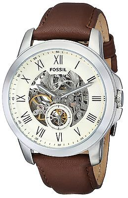 Fossil Original ME3052 Men's Grant Automatic Brown Leather Watch 44mm