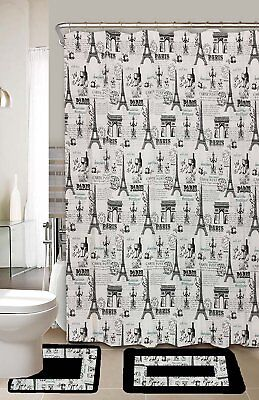Paris Black & White 15-Piece Bathroom Accessory Set 2 Bath Mats Shower Curtain ()