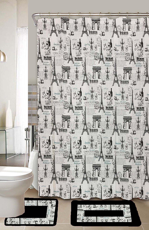 Paris Black & White 15-Piece Bathroom Accessory Set 2 Bath M