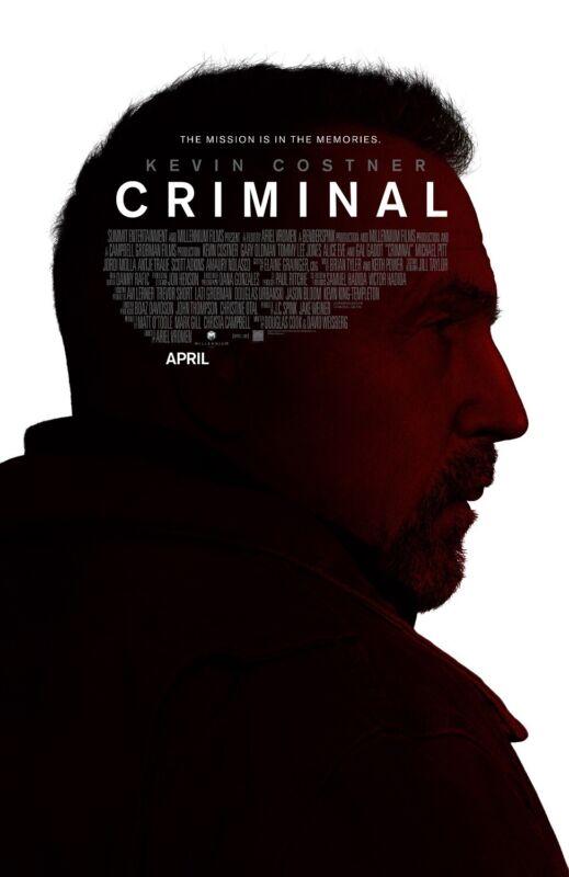 """CRIMINAL """"KEVIN COSTNER"""" 13.5x20 PROMO MOVIE POSTER"""