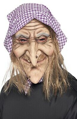 Adults Old Scary Witch Lady Halloween Creepy Latex Fancy Dress Costume Mask