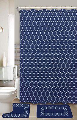 Huda Navy Blue White 15-Piece Bathroom Accessory Set 2 Bath Mats Shower Curtain ()