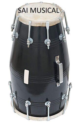 SAI Musicals Dholki, Black, Mango Wood, Bolt-tuned, Spanner, Padded Bag, Dholak