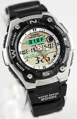 Casio Aqw101 1A Mens Watch Thermometer Fishing Gear Moon Data Active Dial New