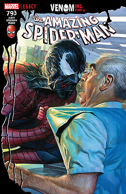 🕷 AMAZING SPIDER-MAN #793 ALEX ROSS NM VENOM CARNAGE GWEN MARY JANE BLACK CAT covid 19 (Black Spider Man Venom coronavirus)