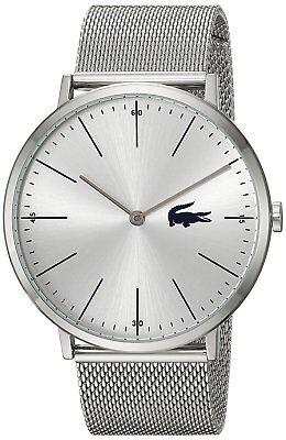 Lacoste Original 2010901 Men's Moon Silver Stainless Steel Mesh Watch 40mm ()