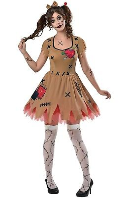 Ladies Miss Voodoo Doll Halloween Fancy Dress Costume Outfit UK 8-16 EU 36-44