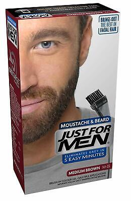 Just For Men Moustache and Beard Facial Hair Colouring Kit Medium Brown M35 NEW