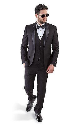 Slim Fit Men Suit Black Tuxedo 2 Button Satin Collar 3 Piece With Vest By AZAR Black 3 Button Tuxedo