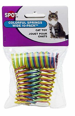 Ethical Pet Spot Colorful Wide Cat Springs 10 Pk Roll & Chase Cat Ferret Toy - Roll Cat Toy