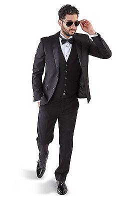 Slim Fit AZAR MAN Black Tuxedo 2 Button Satin Notch Lapel 3 Piece Vested BY AZAR 3 Piece Satin Vest