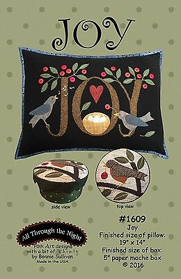 Joy by Bonnie Sullivan ~ Wool Bird Applique Pillow & Box Quilt Pattern (Bertie)