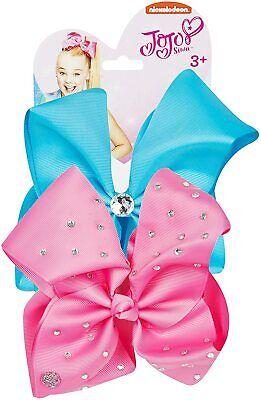 New Nickelodeon JoJo Bow Set - Neon Blue/Pink Girls Hair Bow Set