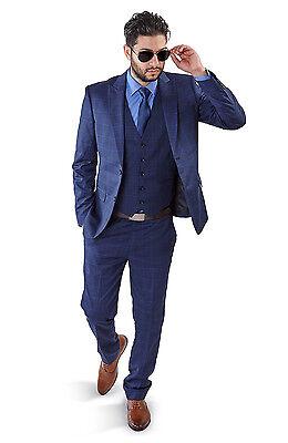 Slim Fit Men Suit Blue 2 Button Checkered Windowpane Plaid Vest Optional By Azar](Mens Blue Suit)