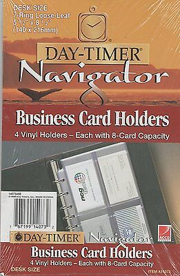 Day-timer Navigator Business Card Holders 4 Vinyl Holders With 8-card Capacity