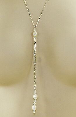 "Solid Sterling Silver Akoya Pearl & Swarovski Crystal Lariat 20"" Figaro Necklace"