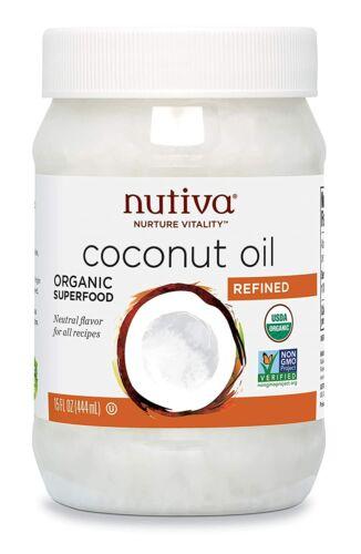 15oz Nutiva Organic Coconut Oil Refined For Cooking, Hair & Skin, Virgin,Non-GMO