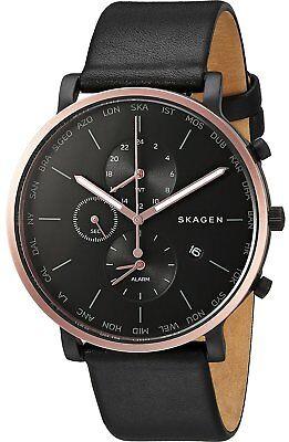 Skagen Mens Skw6300  Hagen  World Time Alarm Black Rose Gold Leather Watch