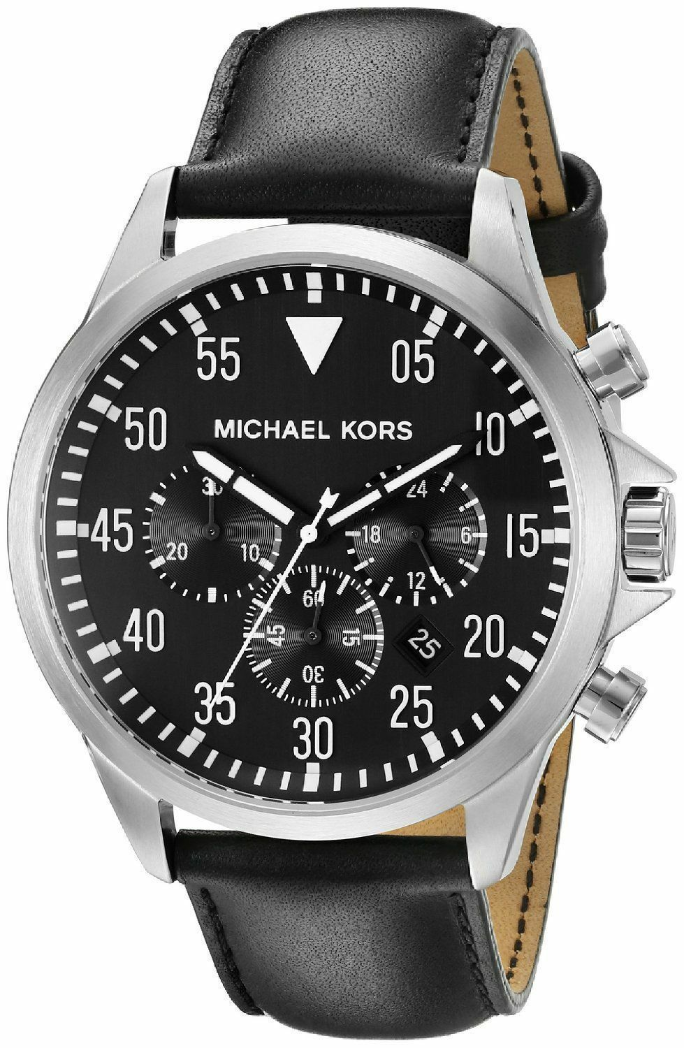 eef55a47473d NWT Michael Kors Men s Watch Silver SS Case   Black Leather GAGE ...