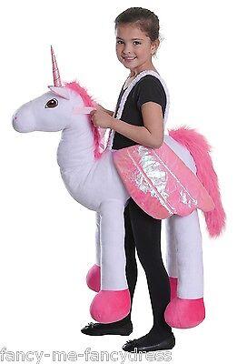 Mädchen Pferde-kostüm (Mädchen Jungen Schritt darauf REITEN EINHORN weiß Pferd Tier Kostüm Kleid Outfit)
